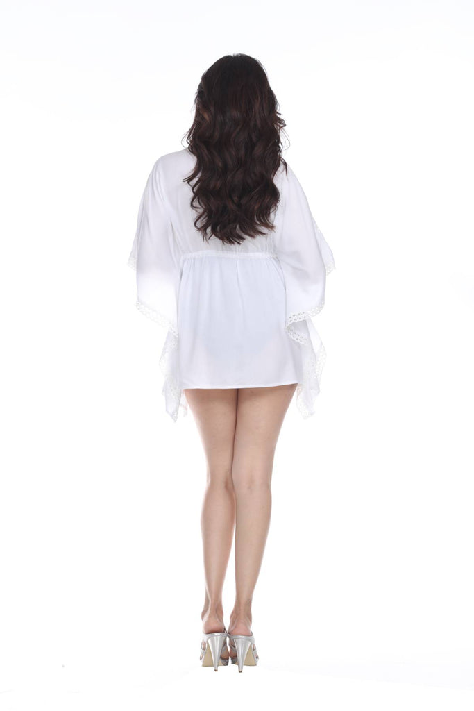 See-Through White Front Tie Beach Kaftan Style Cover-Up In Rayon - La Moda Clothings