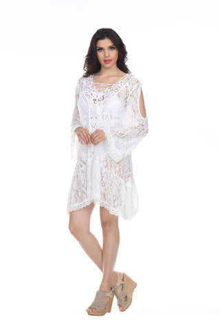 White Crochet Cold-Shoulder Polyester Cover-Up Dress - La Moda Clothings