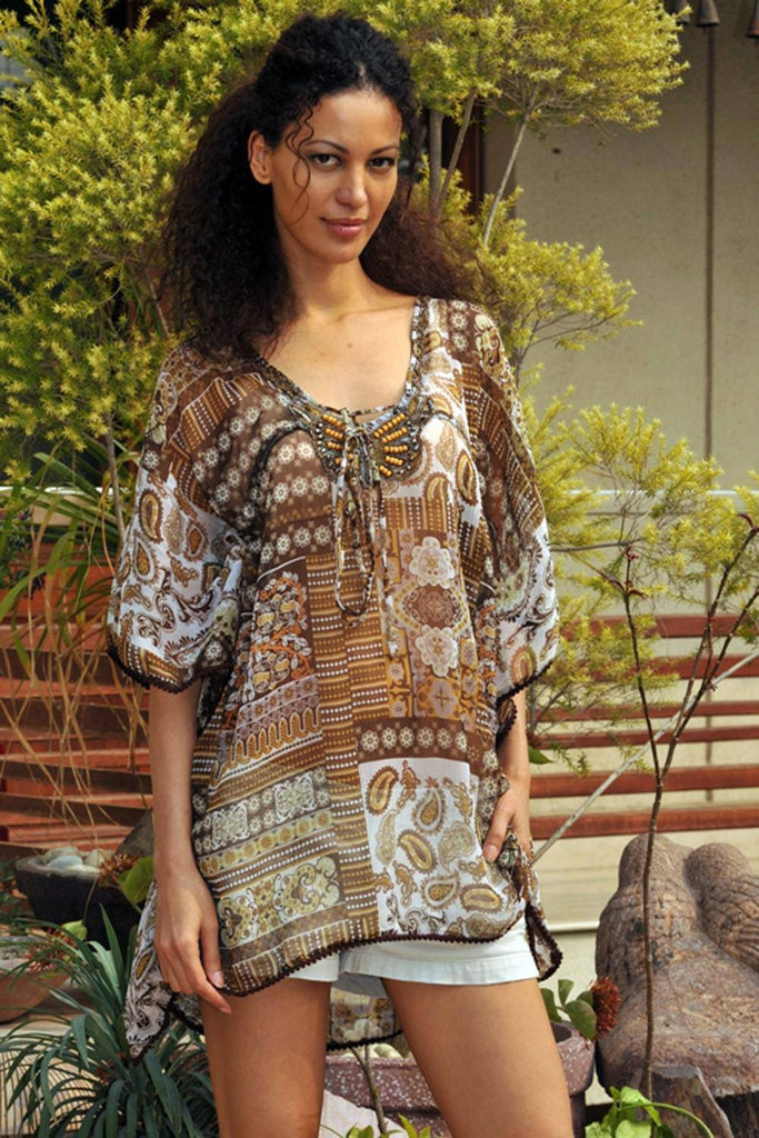Beaded Kaftan to wear over a Swimsuit or Pair with Shorts for casual wear | Resort Wear Wholesalers - La Moda Clothings