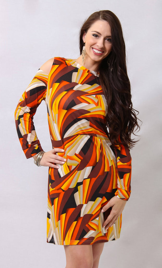 Geometric Print Cold Shoulder Resort Dress - La Moda Clothings