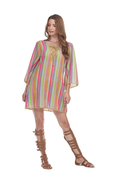 Multi-Color Stripe Pattern Short Polyester Tunic - La Moda Clothings