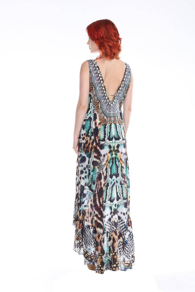 Women's Wholesale High Low Resort Dresses In Animal Print Made From Viscose Silk - La Moda Clothings