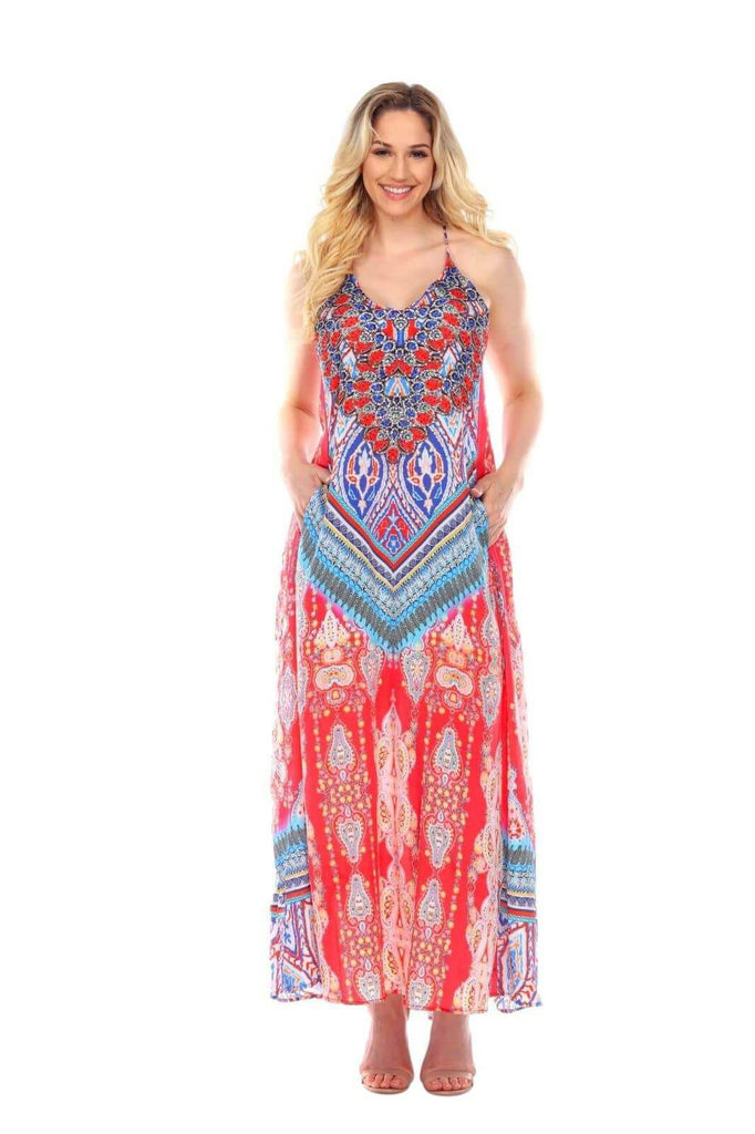 Women's Wholesale Maxi T Back Dresses In Multi-Color With Pockets Made From Imported Polyester - La Moda Clothings