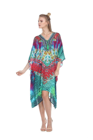 Animal Print Multi Color Viscose Silk Kaftan Dress - La Moda Clothings