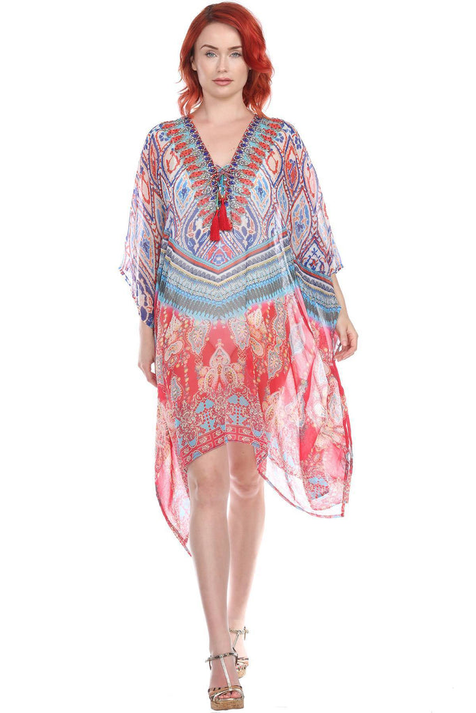 Caftan Light weight Lounger Dress | Laid Back Printed Kaftan Dress Coastal Resort Style Bathing Suit Bikini Swimsuit Cover Up - La Moda Clothings