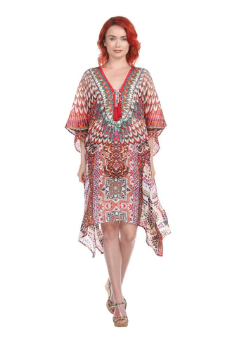 Designer Women's Beach Kaftan Dress in Viscose Silk - La Moda Clothings