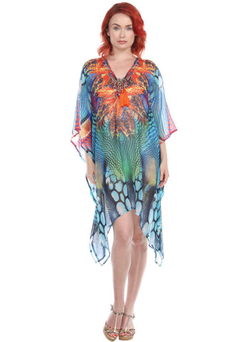 Multi-Color V-Neck Polyester Beach Dress - La Moda Clothings