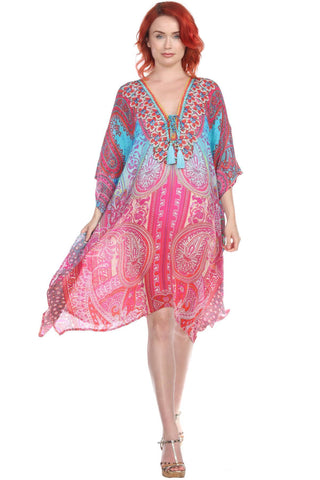Multi Color Viscose Silk Designer Kaftan Dress - La Moda Clothings