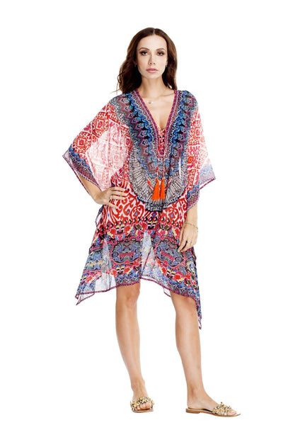 Sunset Diva Sheer Kaftan Dress | Sheer Caftan Swim Cover Ups and Resort Apparel - La Moda Clothings