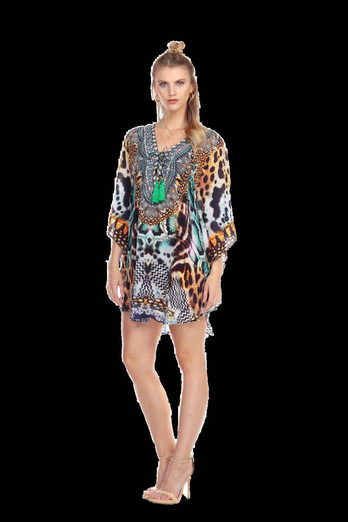 Wholesale Handcrafted Viscose Silk Kaftans For Women In Animal Prints - La Moda Clothings