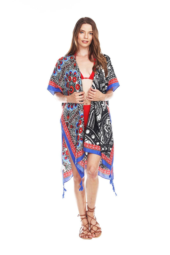 Elegant Multi-Color Printed Polyester Kimono For Beach Cover-Up - La Moda Clothings