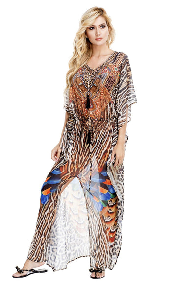Club Moda :Women's Long Caftan Dress with front Slit | Luxuriously Soft Kaftans - La Moda Clothings