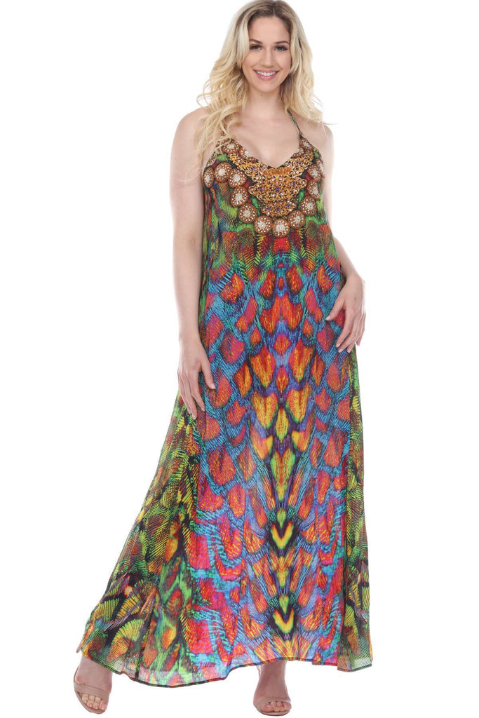 Racerback T Back Maxi Bohemian Hippie Beach Dress - La Moda Clothings