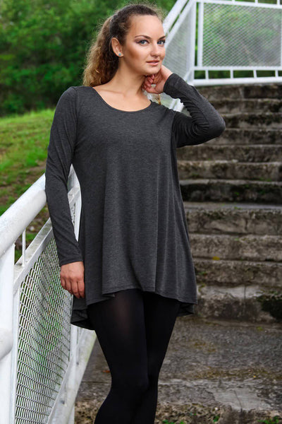 Hi Low Tunic Top in Charcoal and Ash Colors | Knit Tunics Wholesale - La Moda Clothings