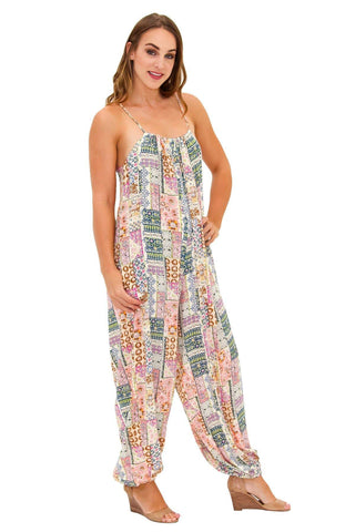 Womens Rayon Hippie Jumpsuit with front pockets - La Moda Clothings