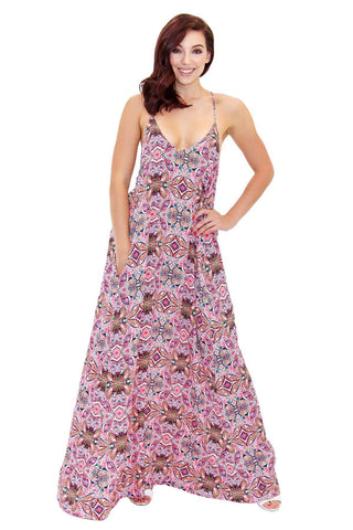 Rayon T Back Maxi Resort Wear Dress with Front Pockets - La Moda Clothings