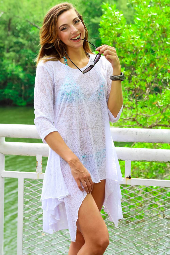 Tunic-Style Front Open Beachwear Style Cover Up - La Moda Clothings