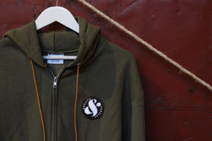 Q&C PATCH CHAMPION FULL ZIP-UP - OLIVE GREEN/RUST ORANGE