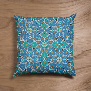 Green & Blue Tile Pillow