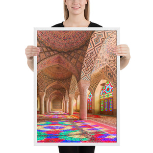 Pink Mosque Interiors Framed Print