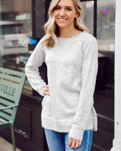 Distressed Hem Pullover Sweater