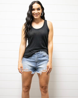 Frayed Hem Distressed Denim Shorts