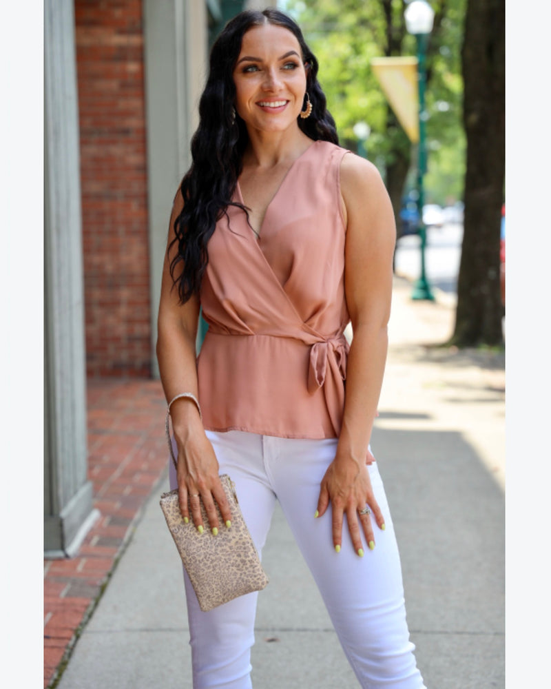 Peplum Side Tie Mauve Top