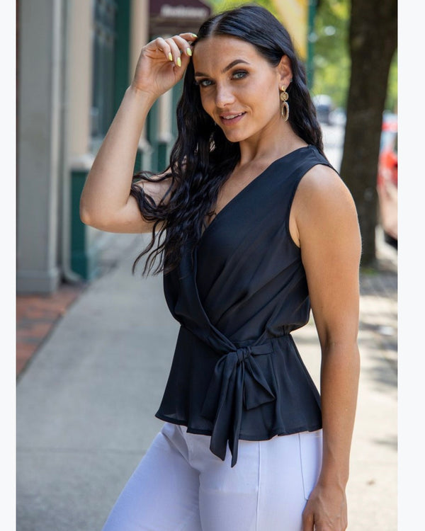 Peplum Side Tie Black Top