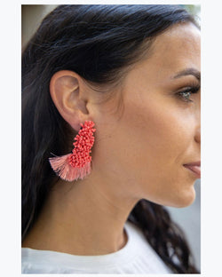 Coral Fan Earrings