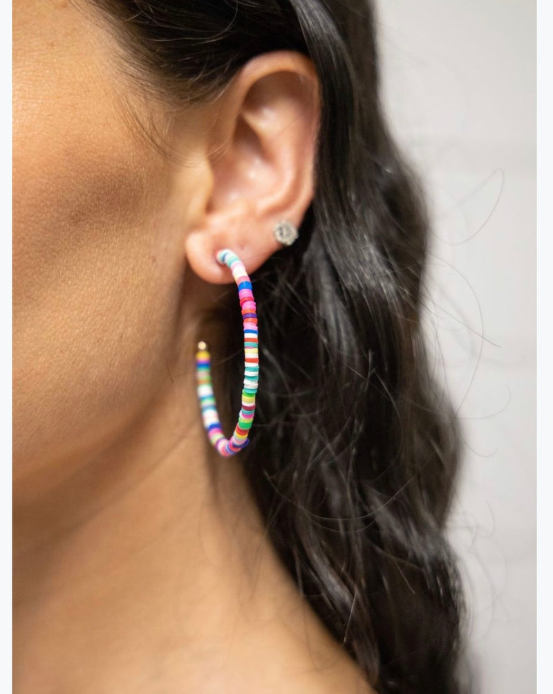 Colorful Lines Hoop Earrings