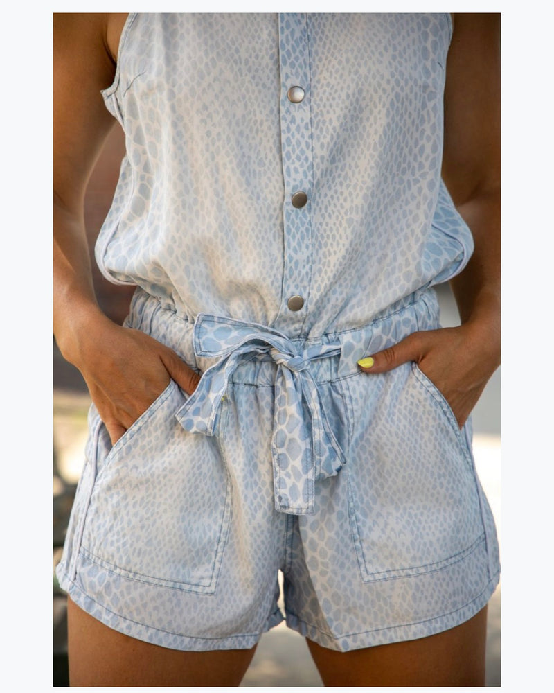 Light Snakeskin Tencel Romper