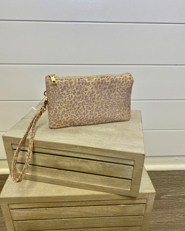 Rose Cheetah Wristlet/Crossbody