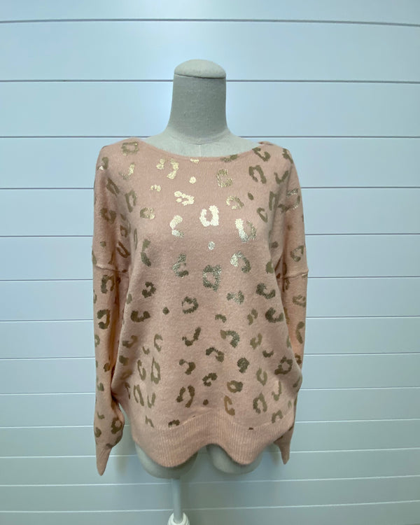 Metallic Cheetah Sweater