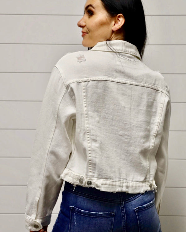 Leah Distressed Jacket-Off White