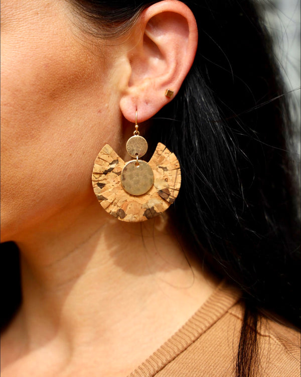 Cheetah on Cork Earring