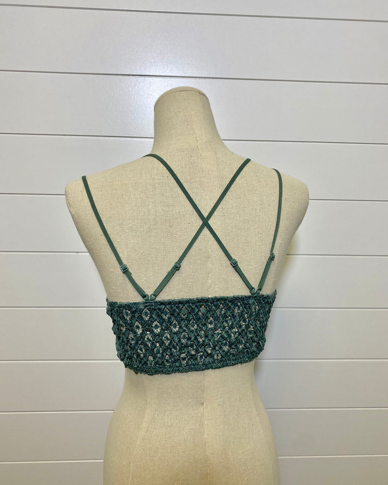 Criss Cross Back Bralette-Teal Grey