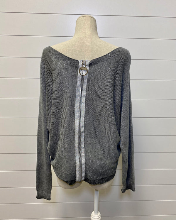 Gray Zipper Sweater