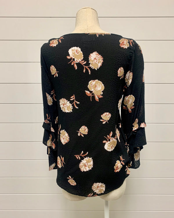 Printed Floral Ruffle Top