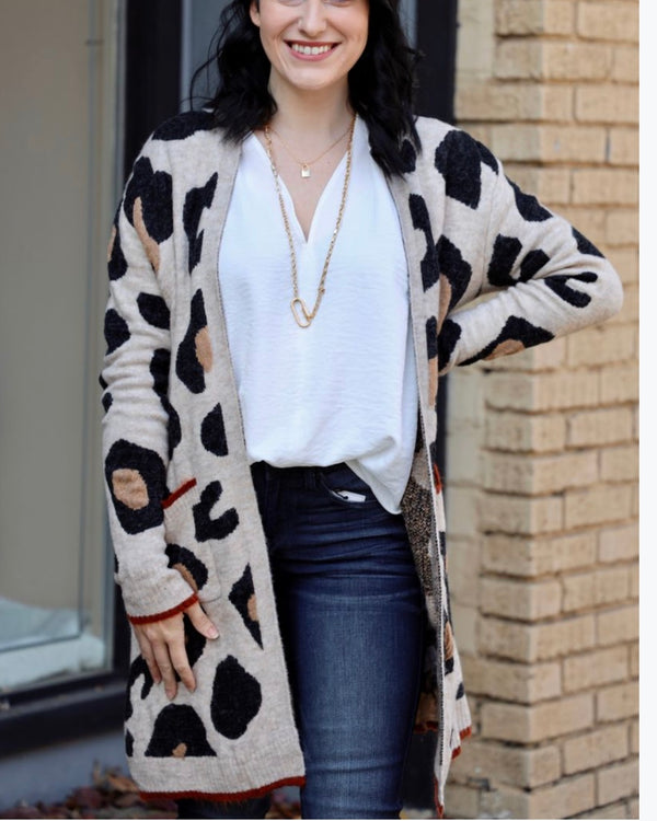 Rust Edge Cheetah Cardigan