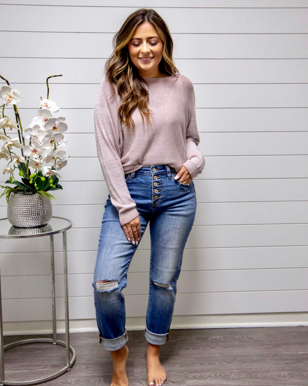 3 Way Zipper Sweater-Blush
