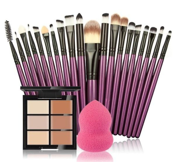 6 Color Concealer With Brushes And Puffs Included