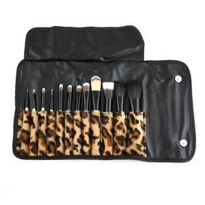 12pcs Leopard Case Print Makeup Brush Tool Kit