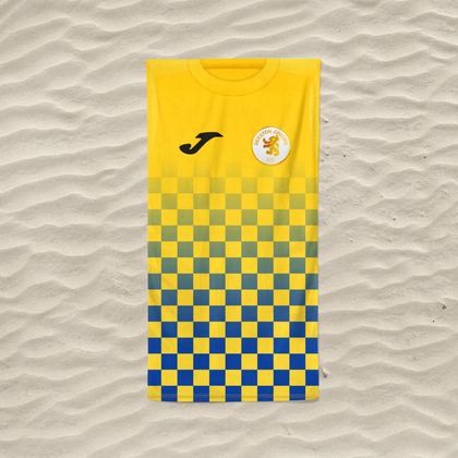 BEESTON JUNIORS OFFICIAL BEACH TOWEL BLUE/YELLOW - TheRetroHut