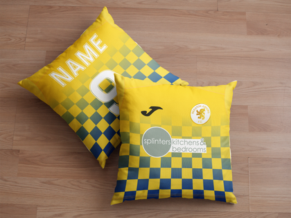 BEESTON JUNIORS OFFICIAL CUSHION BLUE/YELLOW SPLINTERS SPONSOR - TheRetroHut