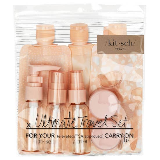 Kitsch Travel Pouch 11 pc. Set - Blush