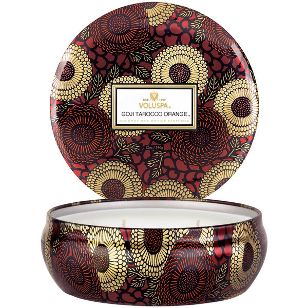 Voluspa 3 Wick Tin - Goji Torocco Orange