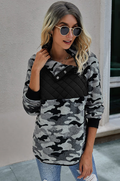 Black and Camo Quilted Bust Pullover