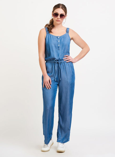 Black Tape Buttoned Drawstring Waist Jumpsuit - Blue Wash