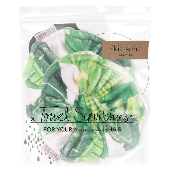 Kitsch Towel Scrunchie 2 pk - Palm