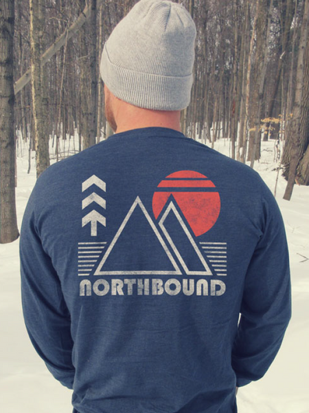 Northbound Retro Mountains Longsleeve Tee - Navy